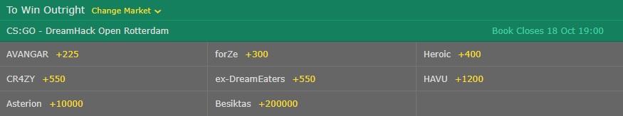 dreamhack rotterdam odds bet365