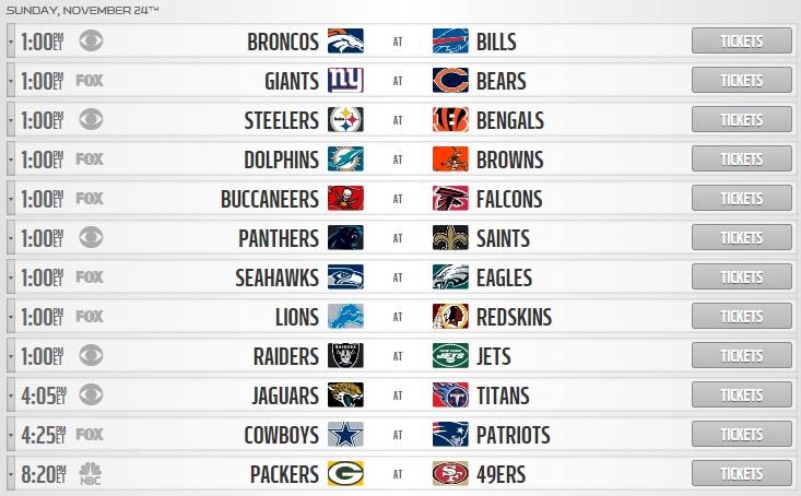 NFL week 12 sunday schedule