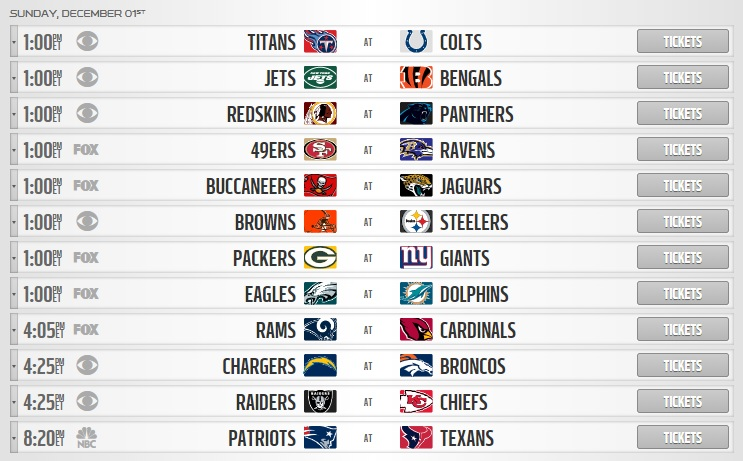 nfl sunday week 13 schedule