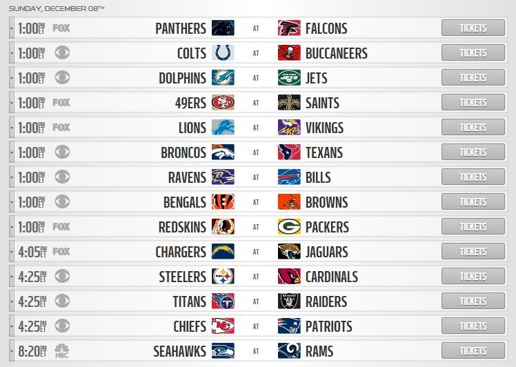 NFL Week 14 sunday schedule