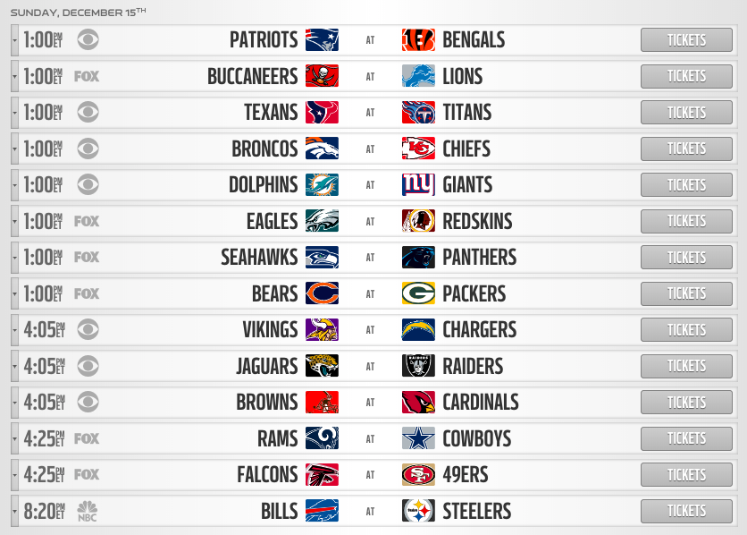 nfl week 15 sunday schedule