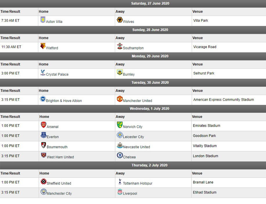 EPL matchday 32 american times