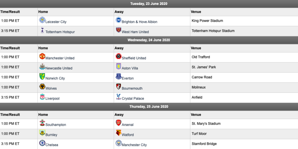 EPL matchday 31 schedule