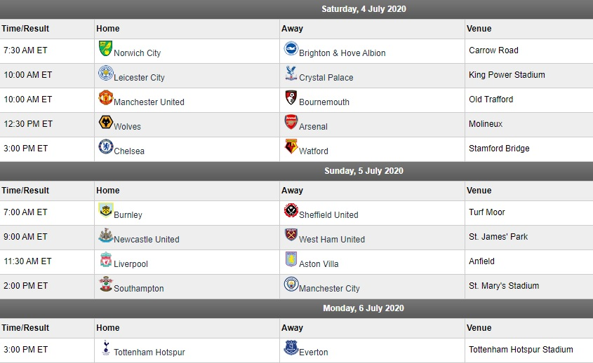 EPL matchday 33 schedule